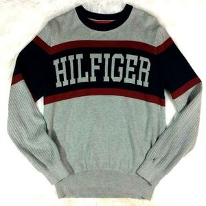 Tommy Hilfiger Gray Pullover Sweater Big Spell Out